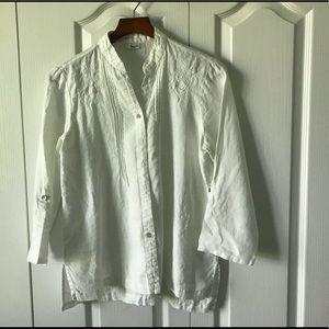 White linen 3/4 sleeve